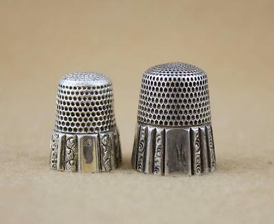 Lot of Two Sterling Silver Thimbles Cracked Simon Bros Waite Thresher Szs 8 & 12