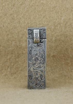 VTG Floral Etched 800 Silver Italy Lipstick Holder Mirror Floral Italian