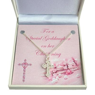 Girls Christening Necklace with Cross Pendant. Daughter Christening Day Gift