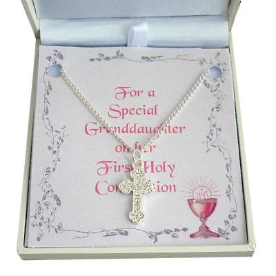 Girls Necklace with Cross Pendant. First Communion Day Gift for Daughter, Niece