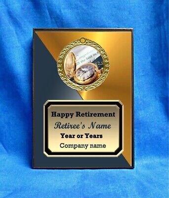 Retirement Gold Watch Custom Personalized Award Plaque Gift Retiring Senior