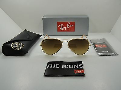 ray ban unisex rb3025 55mm sunglasses  Ray Ban RB 3025 112/85 55mm Matte Gold Brown Gradient Lens Aviator ...