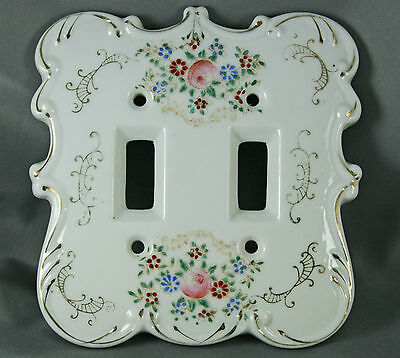 Vtg Porcelain Light Switch Cover Switch Plate Hand Painted Floral Design Japan