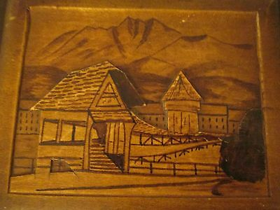 1962 Austrian Hand Carved Chalet & Mountain 3 D Scene Music Jewelry Box