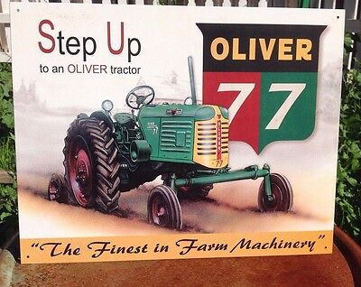 STEP UP OLIVER 77 FARM MACHINERY Tractor Tin Metal Sign Wall Garage Classic