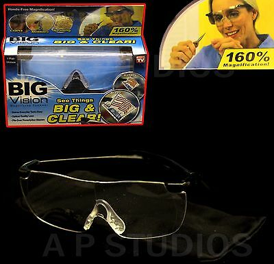 Big Vision Magnifying Glasses As Seen On Tv 160% Magnification Eye Wear Aid Hd