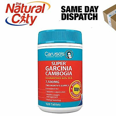 Best Price! Super Garcinia Cambogia 120 Tabs 60% Hca 7500Mg Caruso's Weight Loss