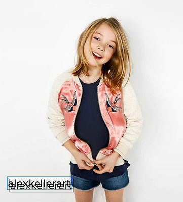 NWT Zara Girls Bomber Jacket Embroidered birds pink satin  4/ 5 years