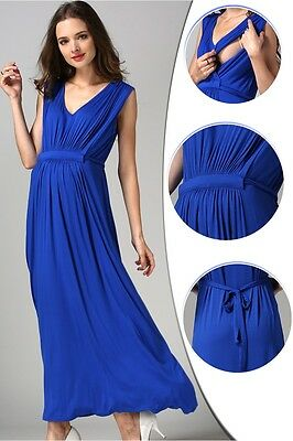 Sale! New Blue Maternity Breastfeeding Nursing Maxi Dress Size S M L 8 10 12 14