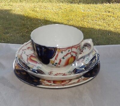 Victorian Gaudy Welsh Tulip Pattern Sampson Smith Wetley China Cup Saucer Plate
