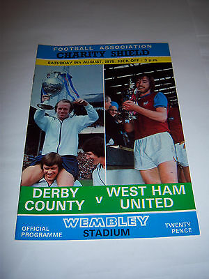 1975 CHARITY SHIELD - DERBY COUNTY v WEST HAM UNITED - FOOTBALL PROGRAMME