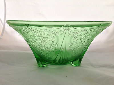 "10"" Hazel Atlas 'royal Lace' Uranium Depression Glass Footed Fruit Bowl"