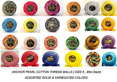 ANCHOR Pearl Cotton assorted Crochet Balls Thread, 85 Meters each Best Bargain