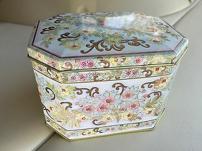 Meister Tin Container from Brazil with Floral Pattern - Beautiful 1980s Gem!