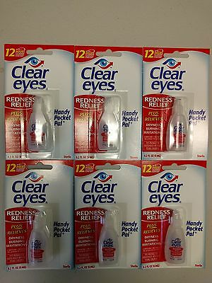 Pack Of 6 Clear Eyes Drops Redness Relief 0.2 Oz.6 Ml Exp(02/2020) 12 Hours