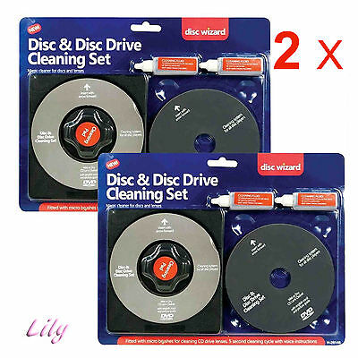 2 X Laser Lens Cleaner Cleaning Kit for PS3 XBOX 360 BLUE RAY DVD PLAYER CD DISC