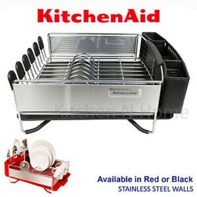 Kitchen Aid  3 Pc Dish Cup Holder Plate Drying Drainer Rack set black or Red