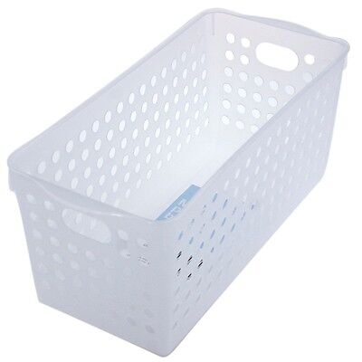 12 PK Clear White Multi-purpose Plastic Storage Basket Organiser Tubs 29x12x13cm