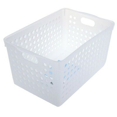 8 PK Clear White Multi-purpose Plastic Storage Basket Organiser Tubs 27x17x14cm