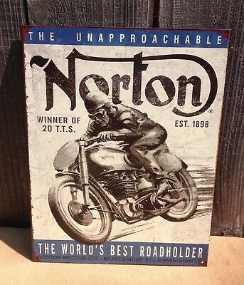NORTON WORLDS BEST ROAD HOLDER Collectible Tin Metal Sign Wall Garage Classic