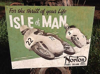NORTON MANX ISLE OF MAN Collectible Tin Metal Sign Wall Garage Classic