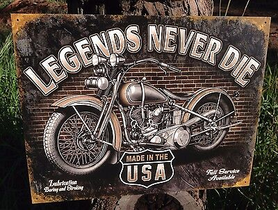 LEGENDS NEVER DIE MADE IN USA Collectible Tin Metal Sign Wall Garage Classic