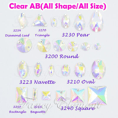 (Small Qty) Glass Crystal Clear AB All Shape & Size Sew On Rhinestone Beads Gems