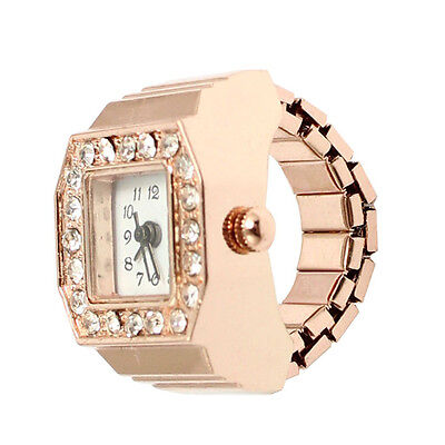 Square Dial Crystal Decor Elastic Finger Ring Watch Copper Tone for BF