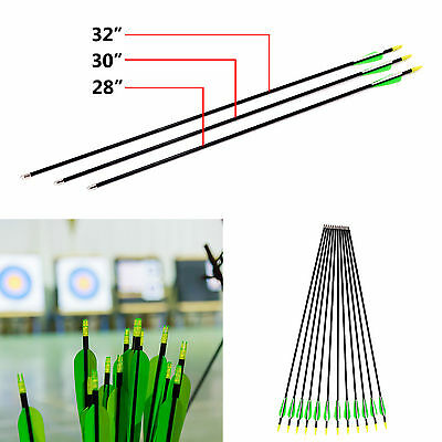 12 Fibreglass Archery Arrows Field Hunting & Target Broadhead Tip 28/30/32 inch