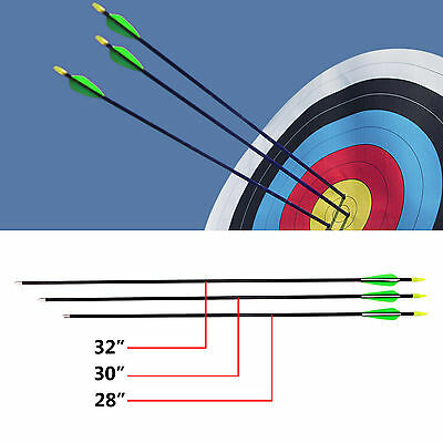 "12x Fibreglass 28"" 30"" 32"" Archery Arrows Hunter Arrow Target & Field Practice"