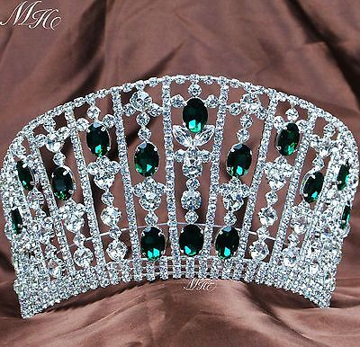 Emerald Large Tiaras Diadem Green Rhinestones Crowns Wedding Pageant Party Prom