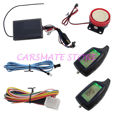 Two way motorcycle alarm with remote engine start & 2 LCD Remote Transmitters
