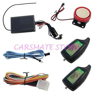 Two Way Motorcycle Alarm With Remote Engine Start 2 LCD Remote Transmitters