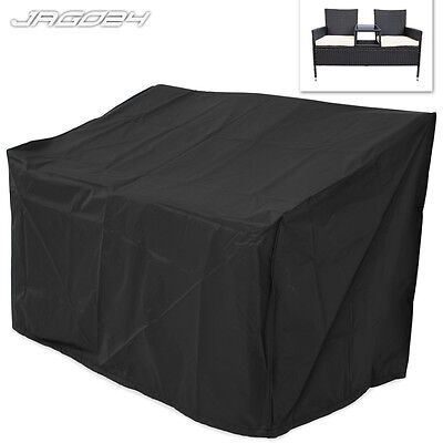 2 Seater Waterproof Outdoor Rattan Furniture Sofa Weather Protection Cover Black