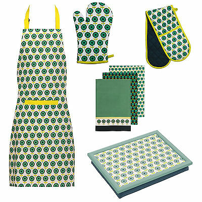 Ella Kitchen Oven Gloves Tea Towels Apron Dinner Serving Lap Tray Green Matching