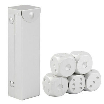 5pcs/set Aluminum Alloy Dice Set Metal Case Gift for Party Home Play Games E0