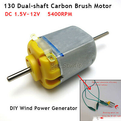Mini dual-shaft Carbon brush DC 1.5V-12V 3V motor DIY model Wind Power Generator