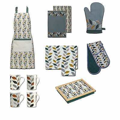 Fern Kitchen Oven Gloves Tea Towels Apron Dinner Serving Lap Tray Matching Leaf