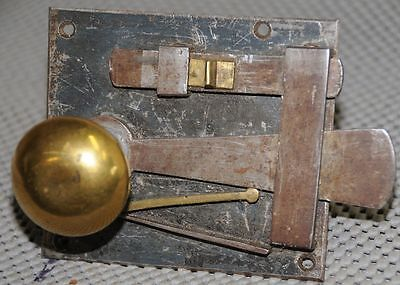 Antique Colonial era Box or plate lock iron and brass works fine
