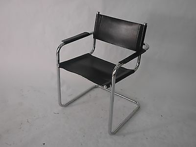 Bauhaus Design Lounge Chair, Leather and Chrome, Mid-century 1960