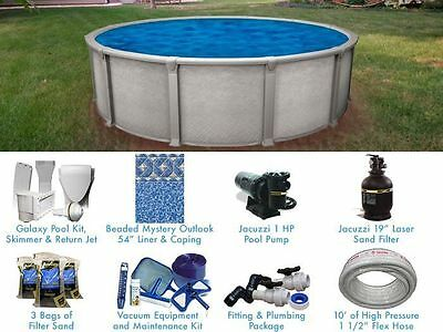 Galaxy 15 ft Round Above Ground Pool Standard Package Salt Water Friendly
