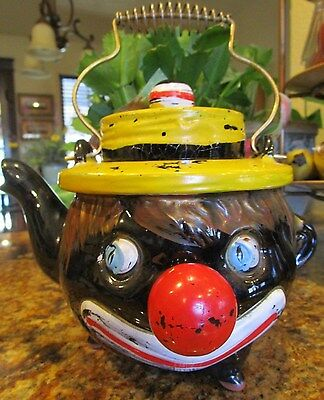 "Vtg Black Americana LARGE Teapot 7""H Thames Tilso Red Clay Clown"