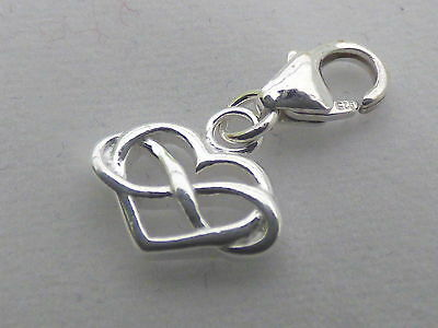 Infinity Heart Clip on Bracelet Charm - Sterling Silver 925 - Gift, Love