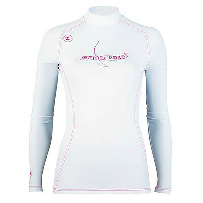 Aqualung LADIES WOMENS Rash Vest SPF50 LONG WHITE SLEEVED VERSION SIZE LARGE