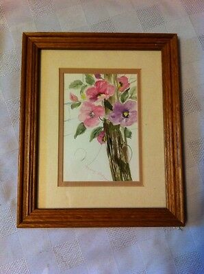 Framed Marg. Hodgens Water Colour Flower Painting