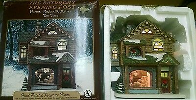 Saturday Evening Post NORMAN ROCKWELL Tea Time Porcelain House w Box Christmas