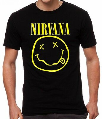 Nirvana Smiley Kurt Cobain 90's Grunge Music Icon Wasted Smiley Black T-Shirt