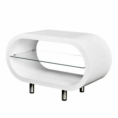 New High Gloss White TV Stand Coffee Table Oval MDF Tempered Glass Steel