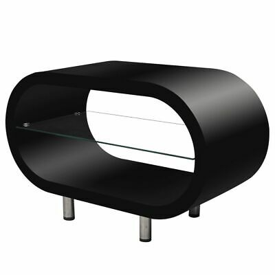 New High Gloss Black Coffee Table / TV Stand Oval MDF Tempered Glass Steel