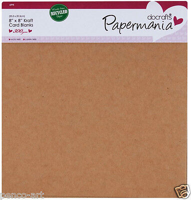 "Papermania 6 pk blank 300gsm 8""x8"" (203mm) square cards + envelopes Kraft brown"